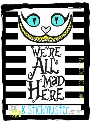 ♥ALLY`s GRINSEKATZE♥ Stickmuster inkl. MAD Schrift 10x10 13x18 20x30cm