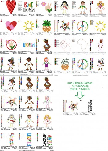 ♥BUNT united♥ Embroidery FILE Set 10x10 13x18cm Ethic