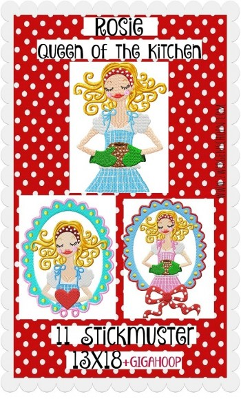 ♥QUEEN OF THE KITCHEN♥ Stickdatei ROSIE 13x18cm plus BONUS 16x26 20x26 20x30cm