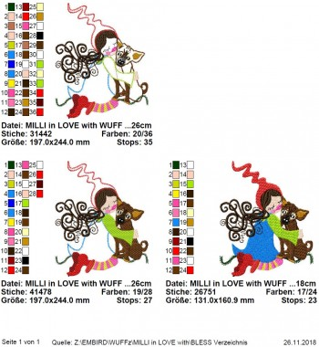 ♥MILLI in LOVE with WUFF♥ Stickmuster HUNDE Liebe 13x18 20x26cm