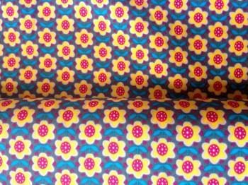 ♥RETRO BLÜMCHEN♥ 0.5m BAUMWOLLE grau/gelb/pink