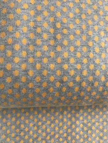 ♥PÜNKTCHEN-Bündchen♥ 0.25m JERSEY gelb grau PUNKTE Dots
