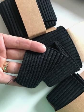 ♥CUFF♥ Strickbündchen schwarz BLACK schwarz 110cm BREITE!!!!!