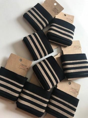 ♥CUFF♥ 1 pack BLACK gold STRIPES