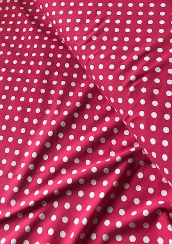 ♥POLKA DOTS♥ 0.5m JERSEY pink FUCHSIA