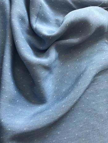 ♥CHAMBRAI♥ 0.5m PÜNKTCHEN bleached DOBBY Tencel CHAMBRAY