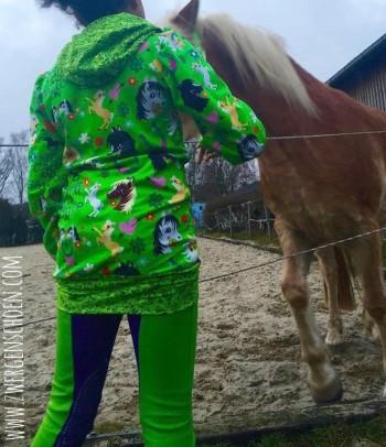 ♥HOTTEHÜ♥ 0.5m JERSEY Ponyhof GRÜN Pferde OHNE RAND
