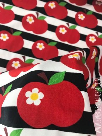 ♥APFELSCHÖN on STRIPES♥ 0.5m JERSEY Streifen BLACK&WHITE Digitaldruck