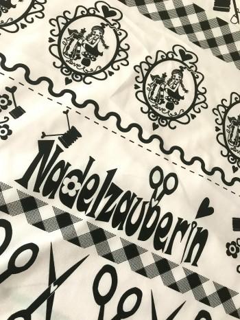 ♥SEW Milli SEW!♥ 0.5m nadelschöne BAUMWOLLE Silhouette SCHNITTCHEN black&white