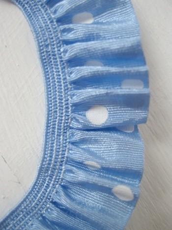 ♥RUFFLes♥skyBLUE POLKA DOTS elastic RIBBON