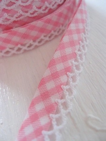 ♥VICHY♥light PINK non-elastic RIBBON BINDING
