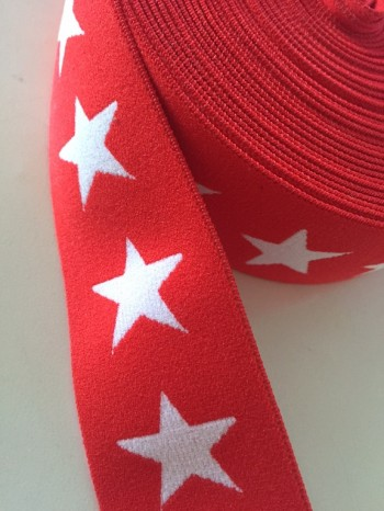♥RIBBON♥ SUPERSTARS red ELASTIC Price per METER 4cm WIDTH