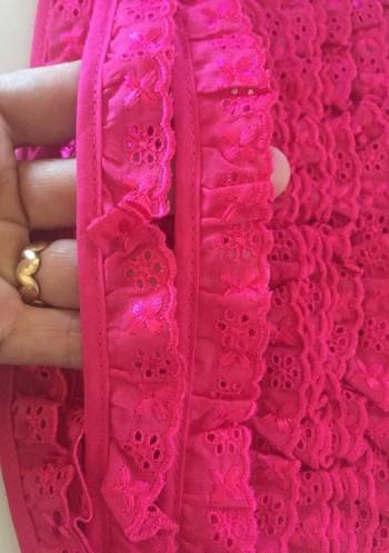 ♥RÜSCHEN♥ Wäschespitze LOCHSTICKEREI pink 3cm BATIST