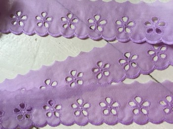 ♥LINGERIE♥ cotton SHABBY CHIC violet 4cm PRICE per METER