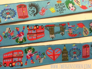 ♥MIX of LONDON♥ woven RIBBON turquise BLUE Price per METER