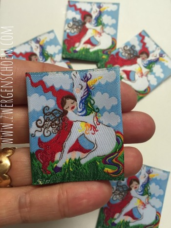 ♥MILLI in LOVE with UNICORN♥ Webetikett 5x5cm ARTWORK