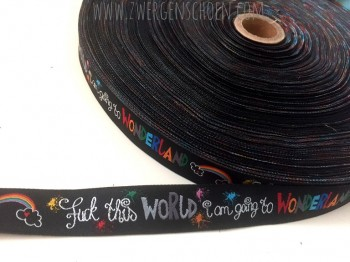 ♥WONDERLAND♥ Webband FSK 16 ;-) knallbunt auf BLACK