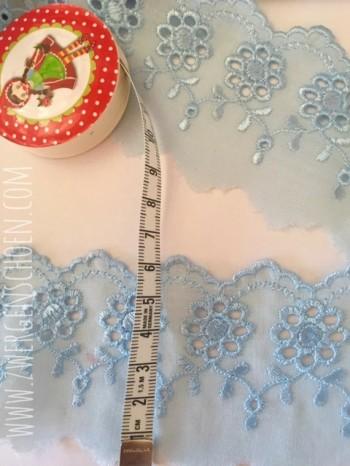 ♥WÄSCHESPITZE♥ babyBLAU 6cm LOCHSTICKEREI Batist BOGENKANTE