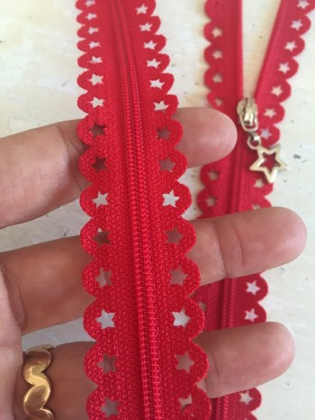 ♥REIßVERSCHLUSS♥ Sterne RED STAR rot 22cm