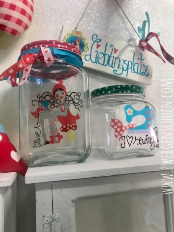 ♥MILLI in LOVE with SEWING♥ Aufkleber ORNAMENT transparent 8x10cm