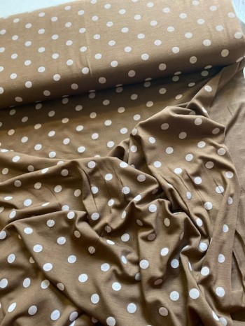 ♥TUPFEN♥ 0.5m VISKOSE Jersey POLKA DOTS braun