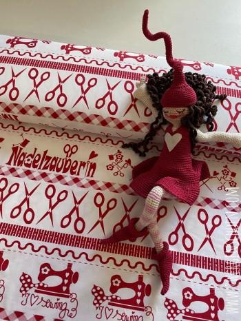 ♥SEW Milli SEW!♥ 0.5m BIO-JERSEY Silhouette SCHNITTCHEN red&white