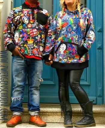 ♥LONDON on GRAFFITIschön♥ 0.38m JERSEY black SCHWARZ