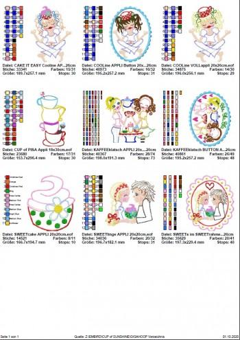 ♥a CUP of SUNSHINE GigaHOOPsies♥ STICKMUSTER Kaffeeklatsch 18x30 20x20 20x26cm