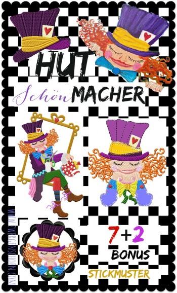 ♥HUTschönMACHER♥ Stickmuster MAD HATTER 10x10 13x18 +BONUS (GigaHOOP)