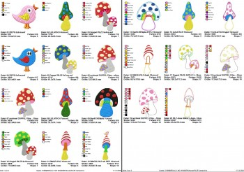 ♥WUNDERpilze♥ Embroidery FILE-Set crazy MUSHROOMS 10x10 13x18cm