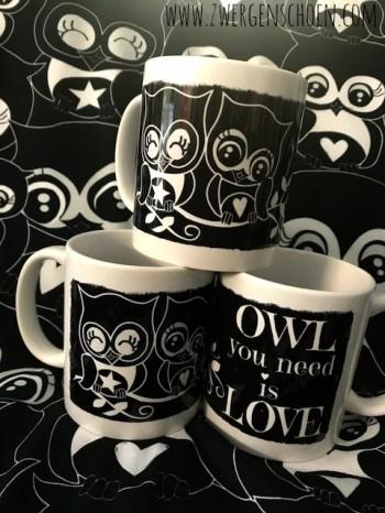♥OWL you NEED is LOVE♥ Tasse 0.3L Eulen BLACK&WHITE