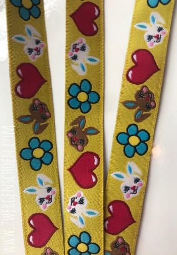 ♥HASENSCHÖN♥ Webband BUNNY Flower Power SONNENGELB
