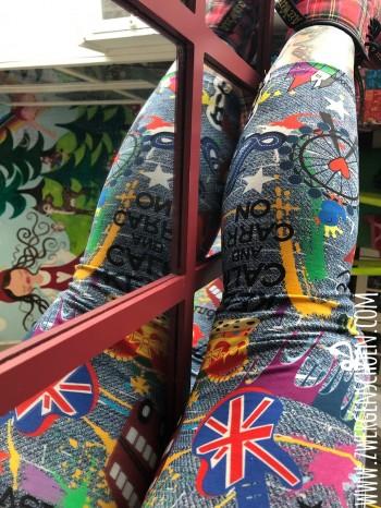 ♥LONDON on GRAFFITIschön♥ 0.38m JERSEY denim JEANSdruck