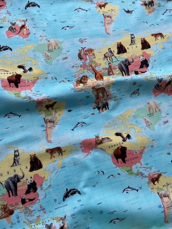 ♥WELTKARTE mit TIEREN♥ 0.5m JERSEY animals WORLD MAP