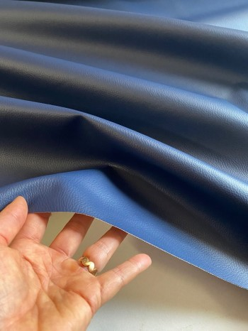 ♥KUNSTLEDER♥ 0.5m MARINE blau GENARBT vegan LEDER