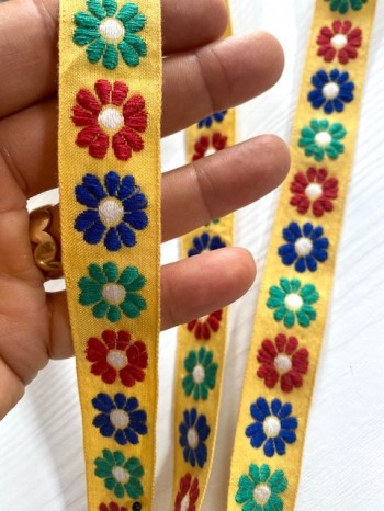 ♥HIPPIE RETRO FLOWERS♥ribbon YELLOW