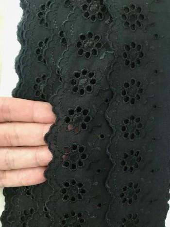 ♥WÄSCHESPITZE♥ schwarz 5cm LOCHSTICKEREI Blumen BOGENKANTE