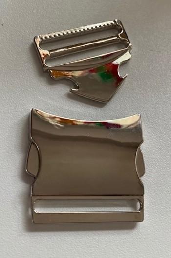 ♥STECKVERSCHLUSS♥ silber METALL 2-teilig 4cm