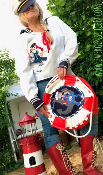 ♥MATROSENmädchen♥ Stickmuster MATROSEN Sailor GIRLS GigaHOOP 18x30 20x26cm