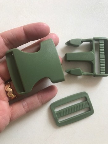 ♥STECKVERSCHLUSS♥ Kunststoff STECKSCHNALLE army GREEN 3.8cm 3er-SET