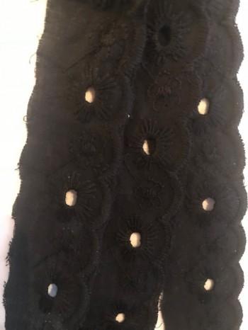 ♥WÄSCHESPITZE♥ BATIST Lingerie SCHWARZ black 2.5cm LOCHSTICKEREI Bogenkante
