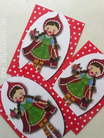 ♥ROTKÄPPCHEN♥ Postkarten-SET little RED Kunstkarten 3STÜCK