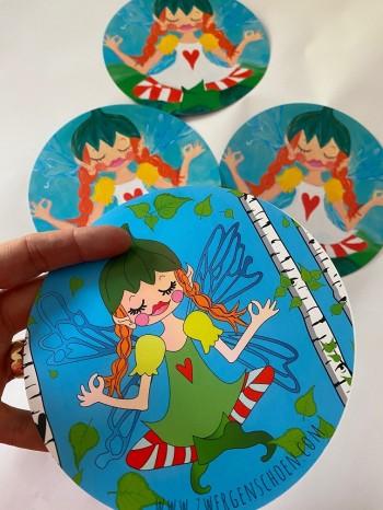 ♥BIRCH FAIRY♥ Postcard-SET of 3 round 15cm
