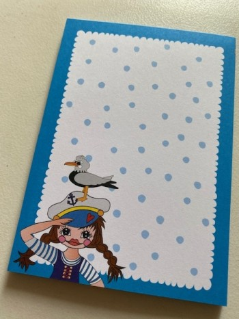 ♥SAMMY mit MÖWE♥ Notizblock DIN A6 Sailor GIRL 50Blatt