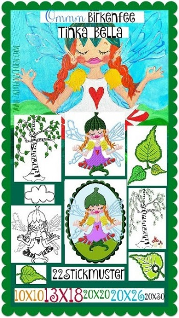 ♥Ommm TINKA BELLA♥ Embroidery-File SET Birch FAIRY 10x10 13x18 20x20 20x30cm