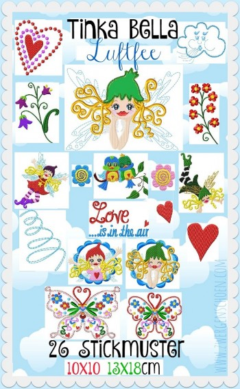 ♥TINKA BELLA the AIRfairy♥ Embroidery-FILE-Set 10x10 13x18cm FAIRIES, BUTTERFLIES, ELVES