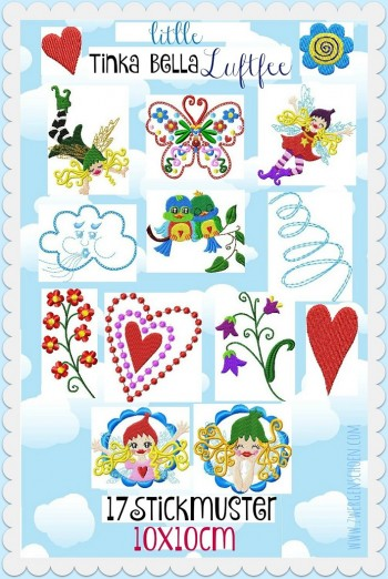 ♥little TINKA BELLA AirFAIRY♥ Embroidery FILE-SET 10x10cm FAIRY Butterfly