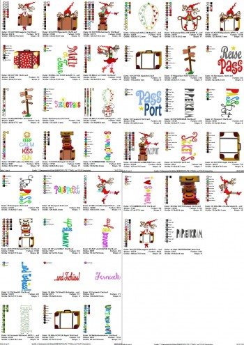 ♥MILLI on TOUR♥ Embroidery-FILE Set Holidays TRAVEL