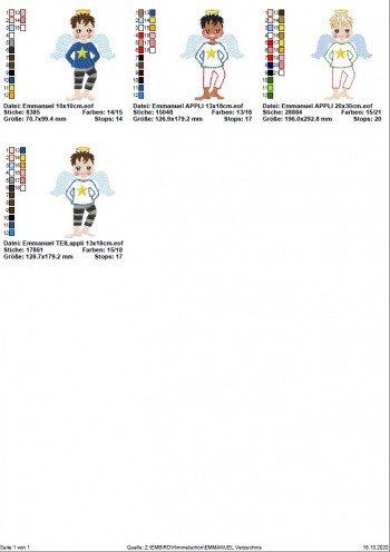 ♥EMMANUEL♥ Stickmotiv SCHUTZENGEL Engel JUNGE 10x10 13x18 20x30cm