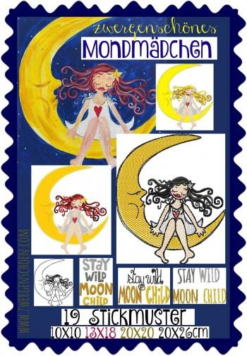 ♥MOON-GIRL♥ Embroidery-File-SET MOON CHILD 10x10 13x18 20x20 20x26cm
